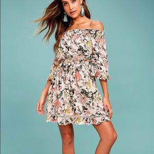 Lulu's Hello Darling Floral Off-the-Shoulder Dress